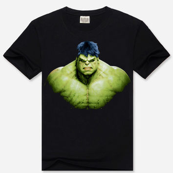 Black 3D Hulk Print Short Sleeve Graphic T-Shirt