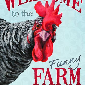 Carson Home Accents Flagtrends Classic Garden Flag, Welcome Funny Farm Chicken