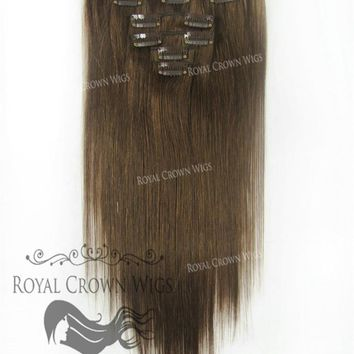 Brazilian 7 Piece Straight Human Hair Weft Clip-In Extensions in #4