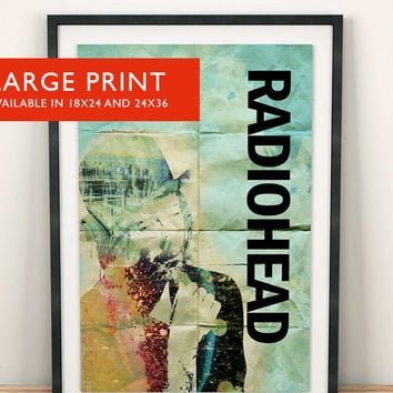 Radiohead Poster Thom Yorke Illustration Art Print Grunge Wall Decor - Large Giclee on Cotton Canvas and Satin Photo Paper