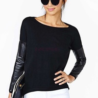 Womens PU Leather Knit Crew Neck Sweater Knitwear Tops SV005516|40901 = 1958159044