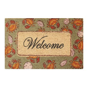 """Multicolored Bleached Anti Shread Treated Coir/ PVC Welcome Doormat, 18"""" X 30"""""""