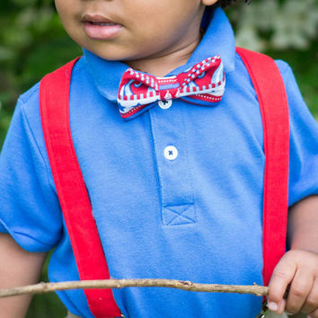 Boy's Bow Tie and Suspender Set - 4th of July Inspired Toddler and Boys Bow Tie and Suspender Set (BT-0206) (SP-02)