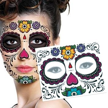 2PCS Waterproof Fake Temporary Tattoos Sticker Skull Face Mask Tattoo for Women Long Lasting Easy to Remove 3 Colors #95709