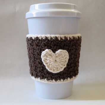 Crochet Heart Coffee Cup Cozy Brown and Cream