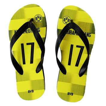 Borussia Soccer Club Fans Flip Flops  Any Name Gift  Surfing Cheering Beach Shoes Fans Gift Sport Slipper