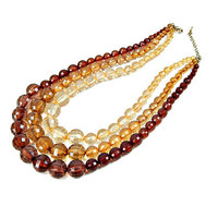Multi Three Strand Necklace Chunky Lucite Faceted Beads Shades of Brown Topaz and Tan