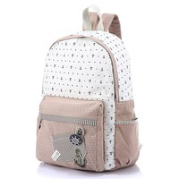 MapleClan Nautical Boat Anchor Dotted Rucksack Canvas Backpack Pink