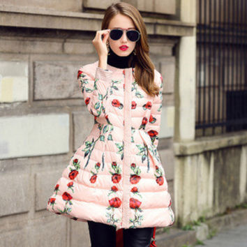 2015 New Winter Women Coat Female European Fashion Rose Print Slim O-Neck Down Jacket WY165