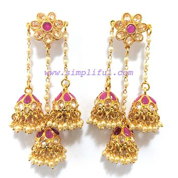Triple jhumka hanging on pearl line polki stone unique earring