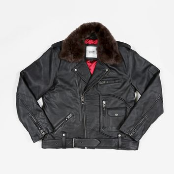 Leather Perfecto Biker Jacket w/ Detachable Faux Fur Collar in Black