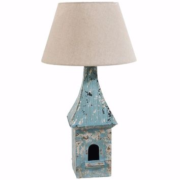 Distressed Bird House Metal Table Lamp, Blue and White