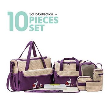 10 Pieces Collections Diaper Bag Set (Lavender with Elephant)