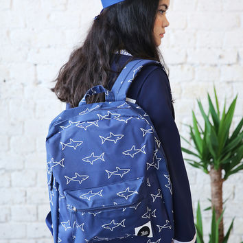 Canvas Backpack Shark Print