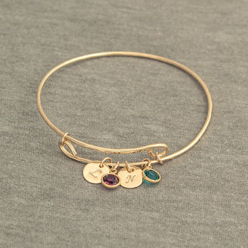 14k Gold Filled Expandable Bangle- Personalized