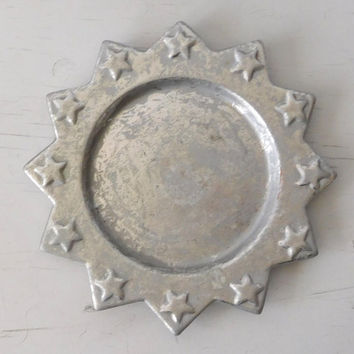 Silver Painted Tray Candle Holder Jewelry Tray 7 inch Plate Painted Ceramic Star Tray Vintage