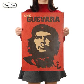 TIE LER Che Guevara Character Retro Posters Advertising Nostalgic Old Bar Decorative Painting Vintage Wall Sticker 51.5X36cm