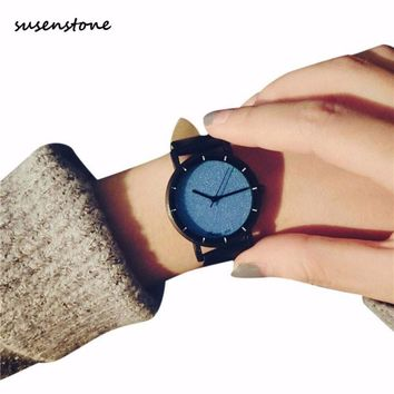 Susenstone Fashion Lovers' Watch Students Minimalist Trend Temperament Small Dial Couple Watches School Style Clock Relogio Y25