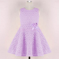 Girls Sleeveless Lace Summer Dress - In Four Diff Colors