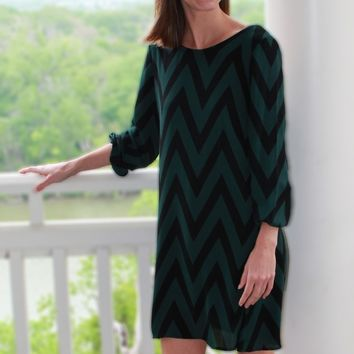 Chevron Green and Black Bow Dress