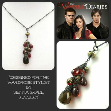 As seen on The Vampire Diaries Elena Garnet Smoky Quartz Necklace