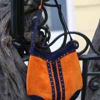 Suede hobo bag, Orange / blue shoulder bag, Suede purse.