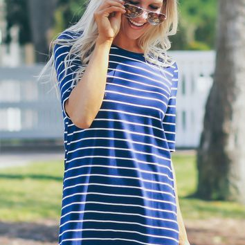 Horizontal Striped Dress Navy/ Ivory