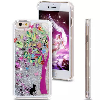 Tree Girls Fashion Painted Transparent Dynamic Liquid Glitter Paillette Sand Quicksand Back Case Cover for iphone 6 6S 4.7 inch
