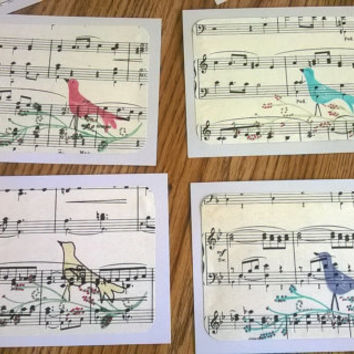 Set of 8 Sheet music note cards with envelopes Handstamped song bird on branch musical thank you blank memo greeting notecard Italy inspired