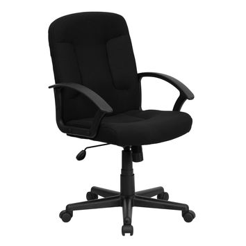 Mid-Back Black Fabric Task and Computer Chair with Nylon Arms