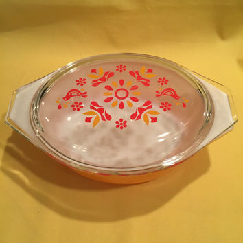 Pyrex/Friendship Pyrex/Vintage Pyrex/Orange Pyrex/Orange and Red Pyrex/Lidded Pyrex/Pyrex Casserole Dish/Sunburst Pyrex/Free Shipping