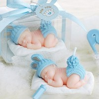 10pcs Blue Sweetie Sleeping Baby Candle For Wedding Party Baby Shower Birthday Souvenirs Gifts Favor