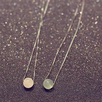 womens cute small crystal ball pendant necklace gift 96  number 1