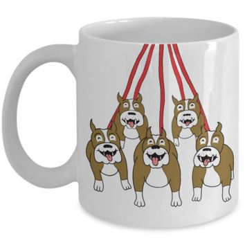 Pit Bull Mug For Christmas 2016 - Holiday Season Greetings Pitbull Cup for Dog Lovers  - White 11oz Ceramic Coffee, Cocoa  & Pencil Holder