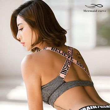 PEAPFS2 Mermaid Curve 2017 New Letter Sports Bra With Padding Women Breathable Fitness Stretch Underwear Push Up Gym Yoga Bras