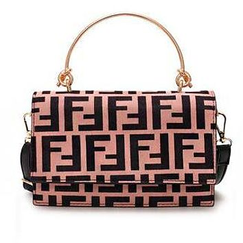 FENDI Popular Women Vintage Leather Handbag Tote Shoulder Bag Crossbody Satchel Pink