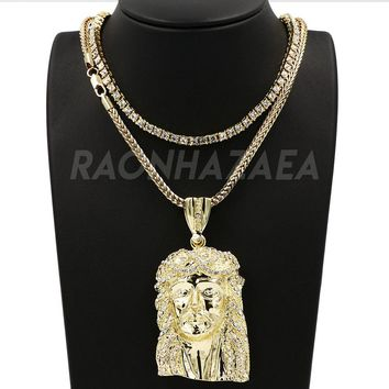 Hip Hop Iced Out JESUS FACE Pendant W/ Franco Chain / Tennis Choker Chain