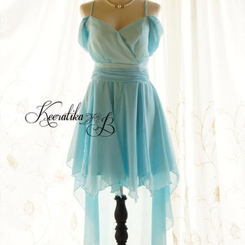 Cinderella Night - Gorgeous Light Tiffany Blue Cocktail Dress Prom Party Wedding Bridesmaid Homecoming Formal Dress Asymmetric Hem