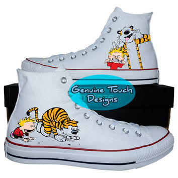 Custom Converse, calvin n hobbes, Calvin fanart shoes, Custom chucks, painted shoes, personalized converse hi tops