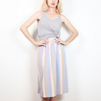 Vintage 1980s Skirt Pastel Striped Midi Skirt High Waisted Secretary Dress Skirt Preppy Knee Length Tea Length Skirt Classic Simple S Small
