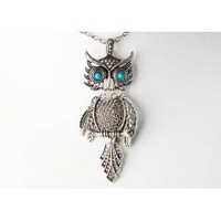 Silver Color Tone Blue Synthetic Turquoise Eye Bird Owl Pendant Necklace