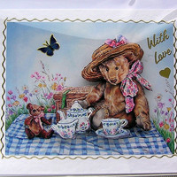 Teddy Bears Picnic Hand-Crafted 3D Decoupage Card - With Love (1648)