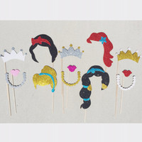 Disney Princess Inspired Glitter Photo Booth Prop Set; Princess Birthday Props