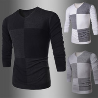 Color Blocked Design Men's V Neck Knit Sweater