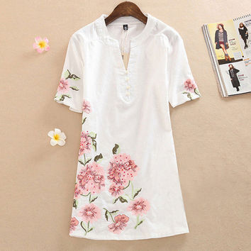 Summer Dress 2017 Fashion Short-Sleeve Loose V-Neck Dress Knee-Length Printing Vintage Embroidery Women casual Dress Plus size