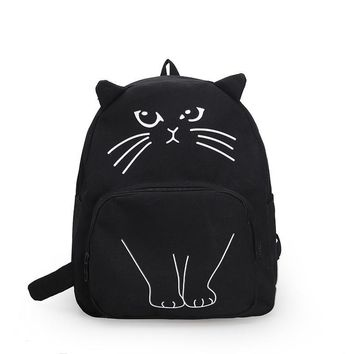 Cute cartoon cat printing backpack The animal prints school bag for teenage girls Personality whimsy women's fashion leisure bag