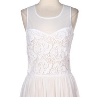 Step Into The Sunset Lace Peplum Top - White