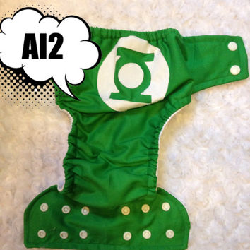 Green Lantern All In Two (AI2) Cloth Diaper - One-Size or Newborn, S, M, L