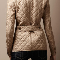 Cinched Waist Quilted Jacket