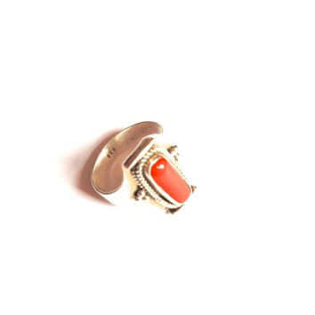 925 Sterling silver vintage ring, size Q, jasper cabochon, red jasper stone, rock, vintage silver ring, blood red stone, chalcedony